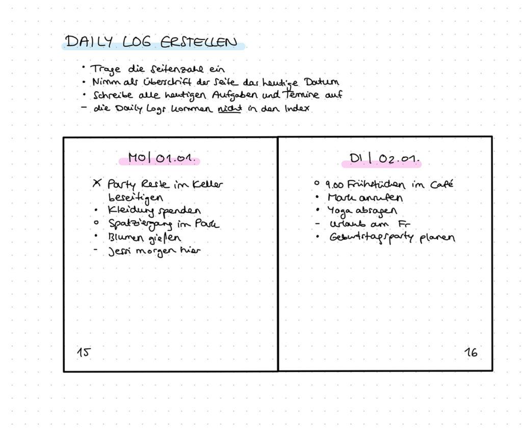 Daily Log im Bullet Journal erstellen